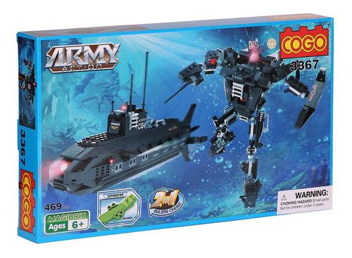 bloques para armar submarino transformer cogo army action