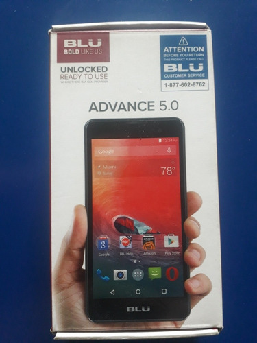 blu advance 5.0 + vidrio templado