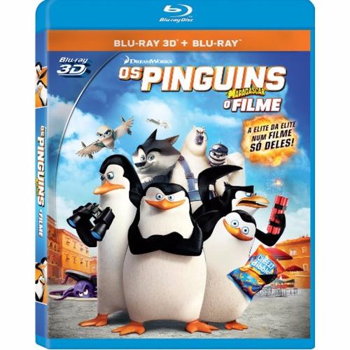 blu-ray 3d+2d os pinguins de madagascar - novo - lacrado