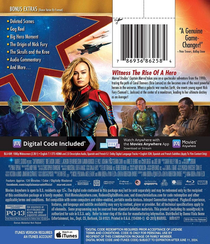 blu-ray captain marvel / capitana marvel