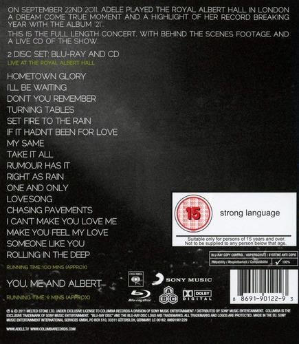 blu-ray + cd adele live at the royal albert hall 2011