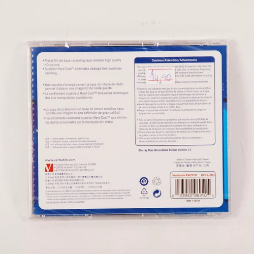 blu-ray disc verbatim bd-r 25gb 6x