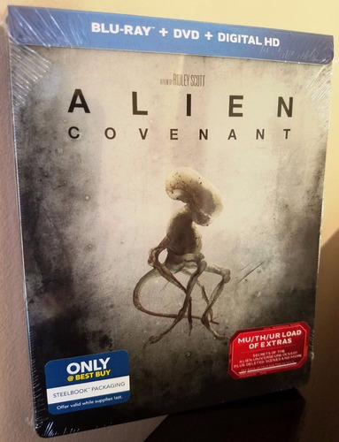 blu-ray + dvd alien covenant / steelbook