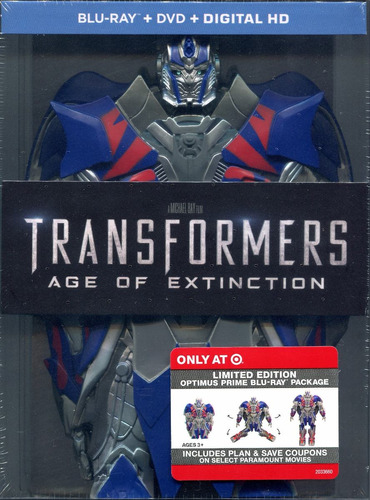 blu-ray + dvd transformers 4 age of extinction optimus limit