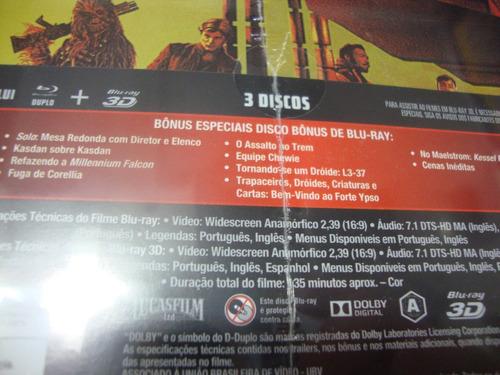 blu-ray han solo uma história star wars steelbook - 3 discos