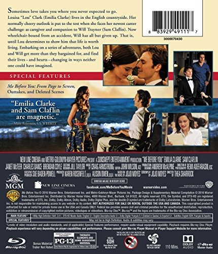 blu-ray :   - me before you (ultraviolet digital copy, d...