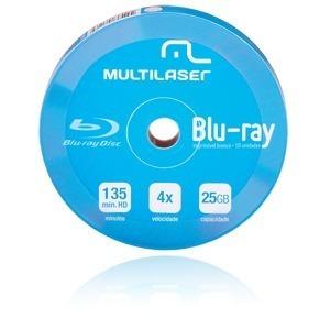 blu-ray multilaser 4x 25gb printable - 10 unidades (shrink)