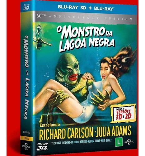 blu-ray o monstro da lagoa negra 3d + 2d + poster - lacrado