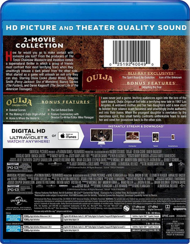 blu-ray ouija + ouija 2 origin of evil / incluye 2 films