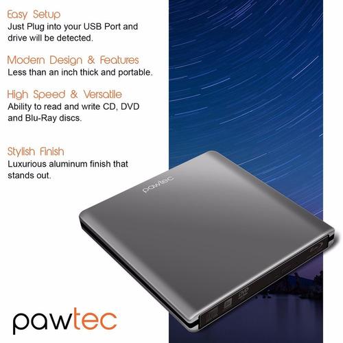blu-ray pawtec slim externo 3d writer / burner usb 3.0 6x bd