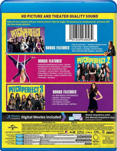 blu-ray pitch perfect trilogy / incluye 3 films
