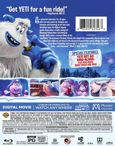 blu-ray : smallfoot (with dvd, full frame, ultraviolet...