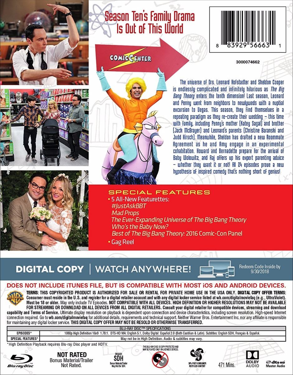 Blu ray The Big Bang Theory Season 10 Temporada 10