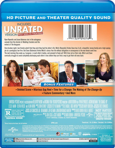 blu-ray : the change-up (unrated version)