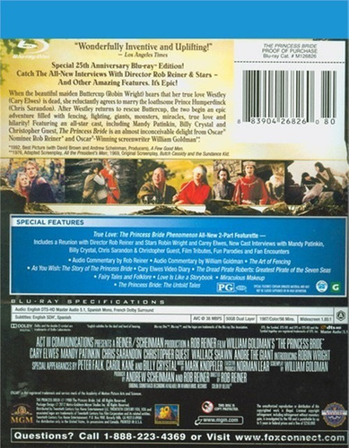 blu-ray the princess bride / la princesa prometida