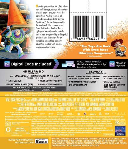 blu ray toy story 2 en 2d - 4k - stock - nuevo - sellado