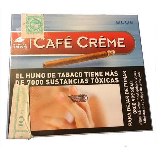 blue cigarro puros puritos cafe creme habano pack x50