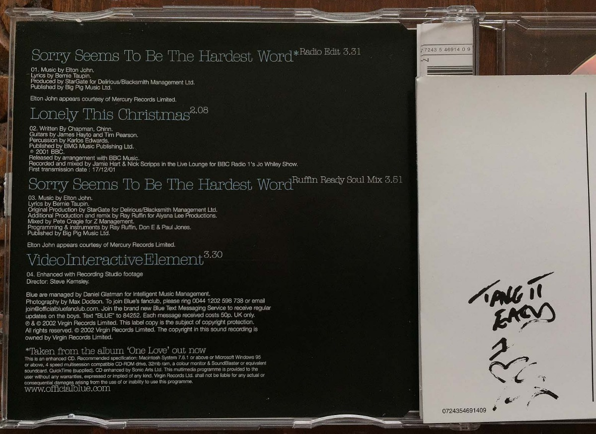 Blue & Elton John Sorry Seems To Be The Hardest Word Cd Ingl - $ 94 00