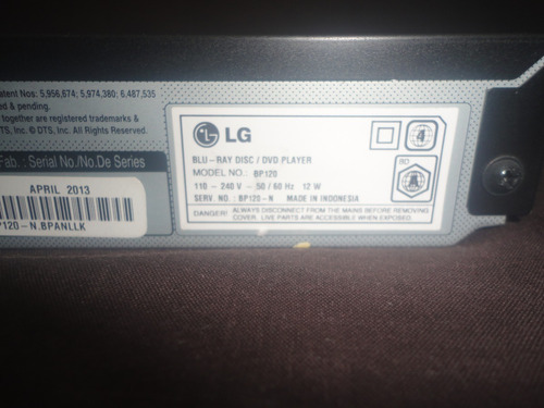 blue ray lg full hdmi disc dvd/cd modelo bp-120 original