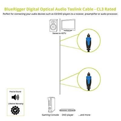 bluerigger audio digital óptica toslink cable (10 pies)