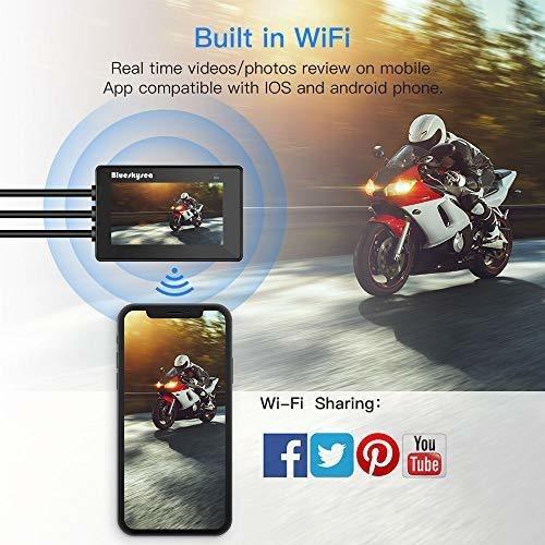 blueskysea camara de salpicadero de motocicleta wifi full hd