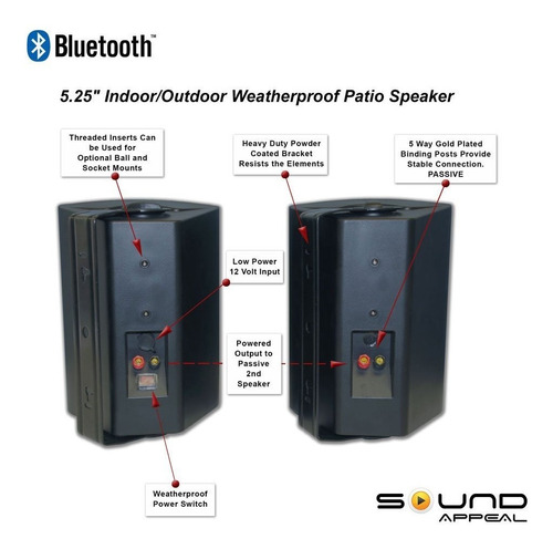 bluetooth 5.25 altavoces interiores para exteriores de patio
