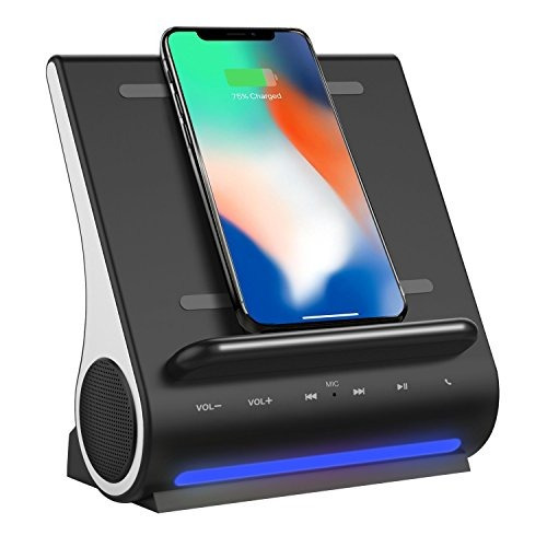 bluetooth speakers, fast wireless charger, phone/tablet stan