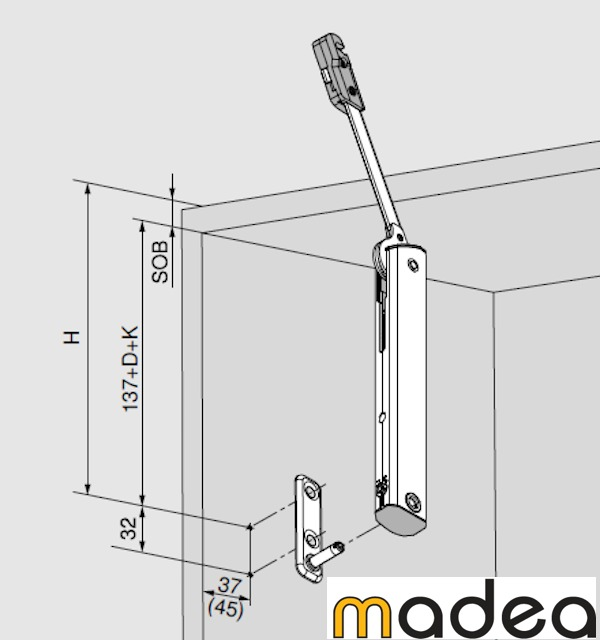 Blum aventos hk xs puerta cocina vertical kit bisagras for Bisagra puerta cocina