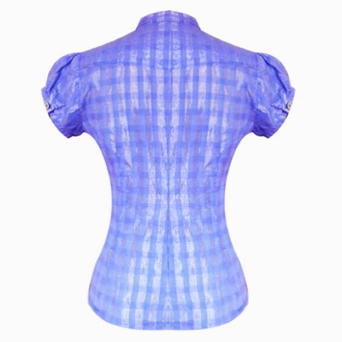 blusa a cuadros manga corta sarab - azul
