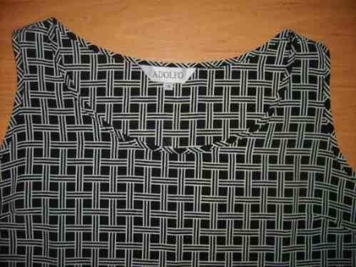 blusa adolfo talla m sin mangas con figuras negras y blancas