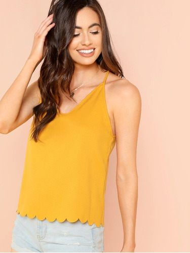 blusa amaril tirantes scallop blusas dama de moda ropa mujer