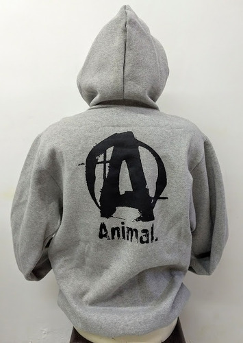 blusa animal moletom - cinza/preto - moletom animal