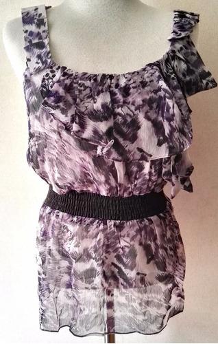 blusa animal print color negro morado talla m