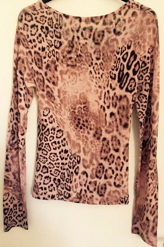blusa animal print de mangas compridas