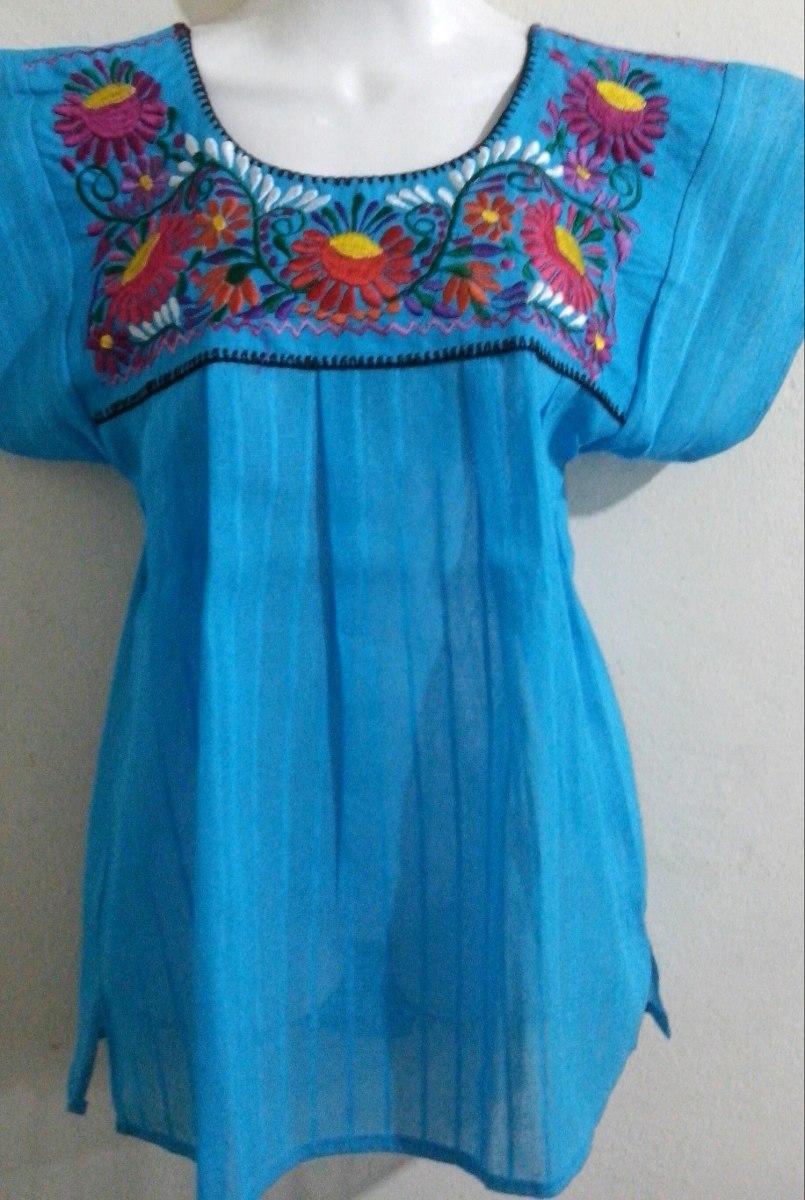 f5343a1804 Blusa Azul Bordada A Mano -   295.00 en Mercado Libre