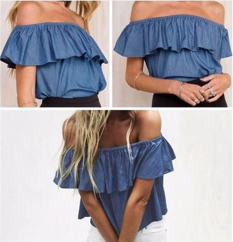 blusa, azul, poliester, verano talla ,m, nuevo, ,las condes