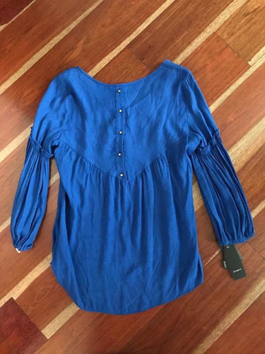 blusa azul rey manga 3/4 studio f