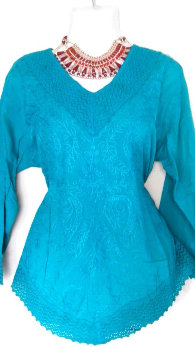 9df78e057d Blusa Azul Turquesa Bordada -   300.00 en Mercado Libre