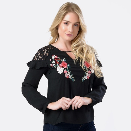 blusa babado estampa florida moda feminina miss yes ae-1370