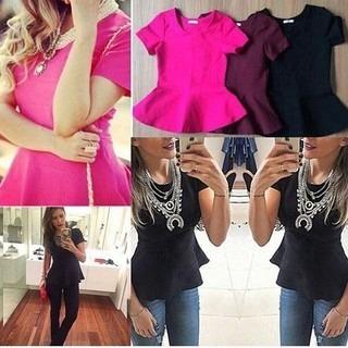 f1d5ff977 Blusa Bandagem Peplum Camisa Feminina Blusinha Modela Corpo - R$ 55 ...
