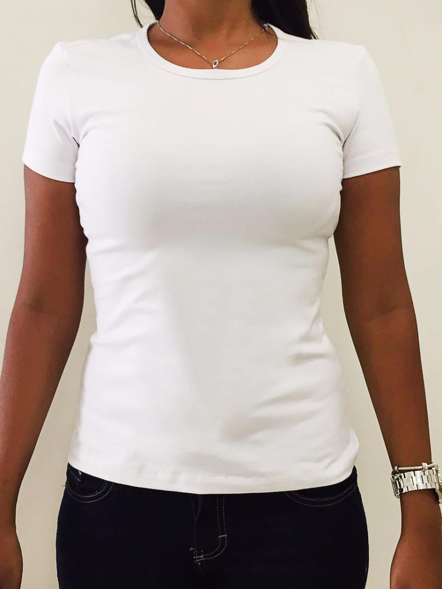 blusa básica feminina malwee 85% algodão cor branca. Carregando zoom. 42d945a9f7a3d