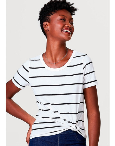 blusa básica feminina manga curta listrada hering