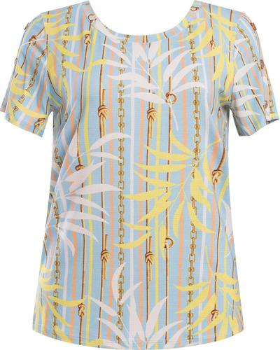 blusa básica manga curta estampa tropical seiki 430863