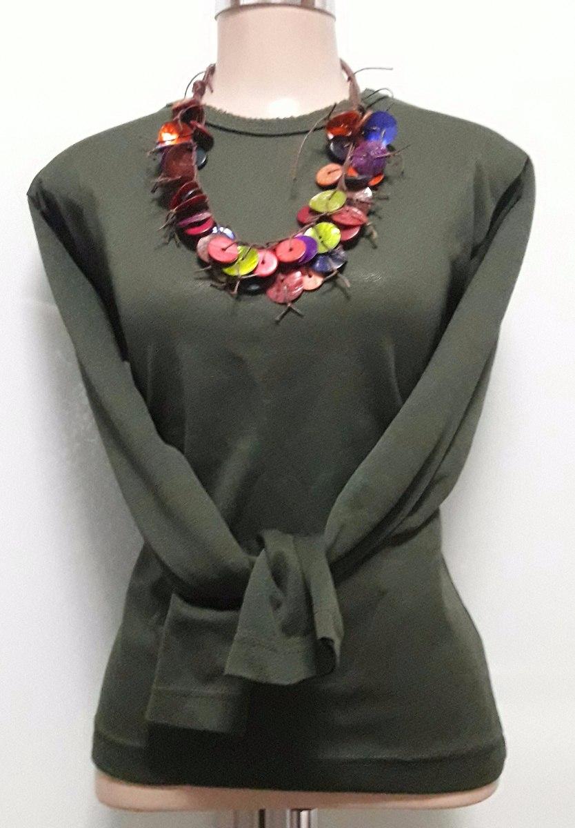 blusa básica verde militar manga longa. Carregando zoom. b3b4b530a677b