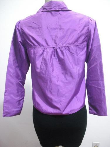 blusa bata roxa tafetá tam p ótimo estado manga longa