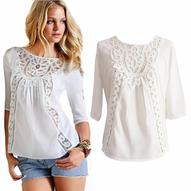9865f725e Blusa Batinha Camisa Branca Manga 3 4 Detalhes Renda Guipir - R  39 ...
