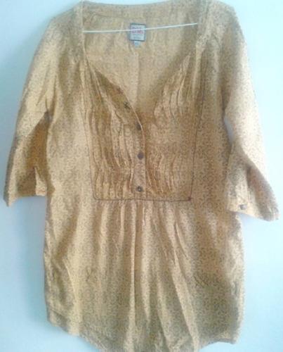 blusa bershka talla m color mostaza con detalles marrones