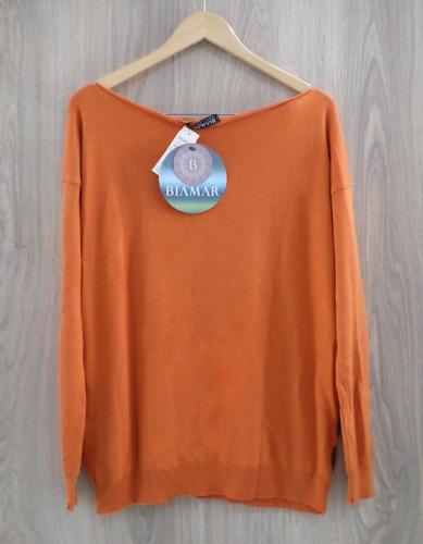 blusa biamar malha tricot leve estampa onça tigre laranja