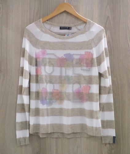 blusa biamar malha tricot listrada estampa 86 - mescla bege
