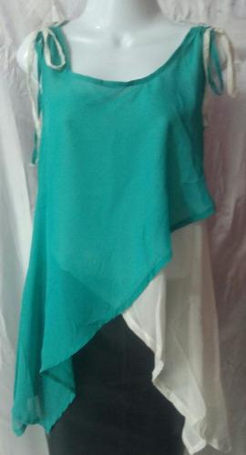 blusa bicolor en picos